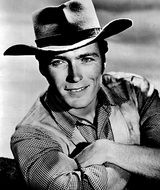 black and white photo Clint Eastwood in a cowboy hat