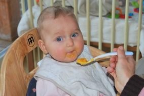 the process of feeding the baby with a spoon vegetable puree