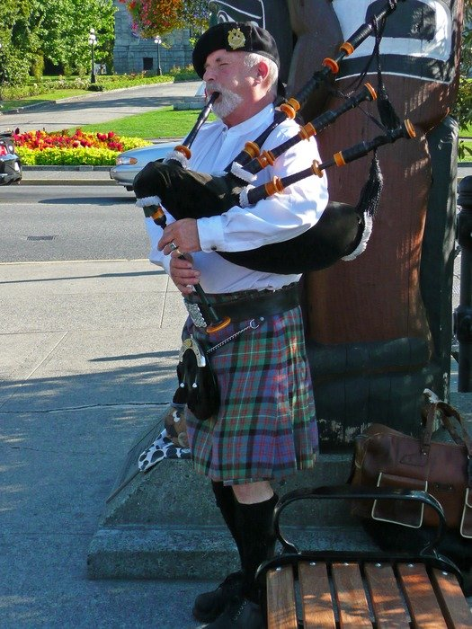 Bagpiper on the street in British Columbia