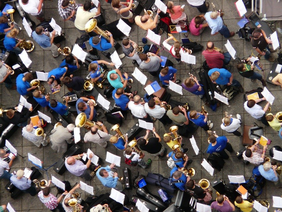 Top view of musicians