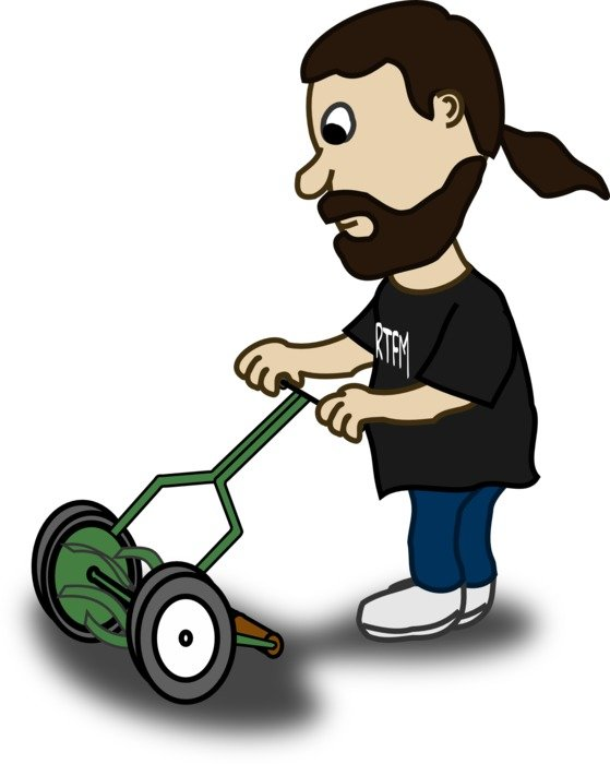 Man is mowing clipart
