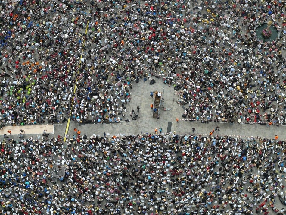 Top view of a crowd of people