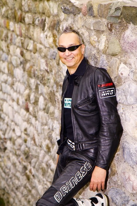 happy man in leather clothing