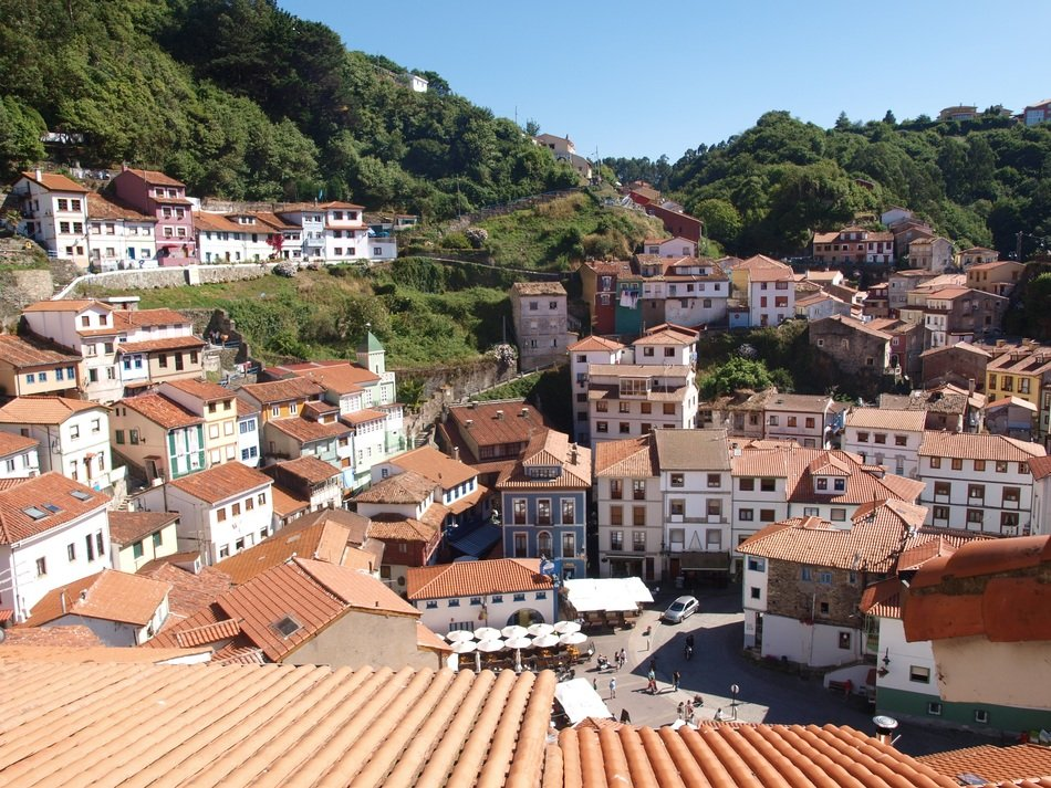 Panorama of a village in the province of Asturias