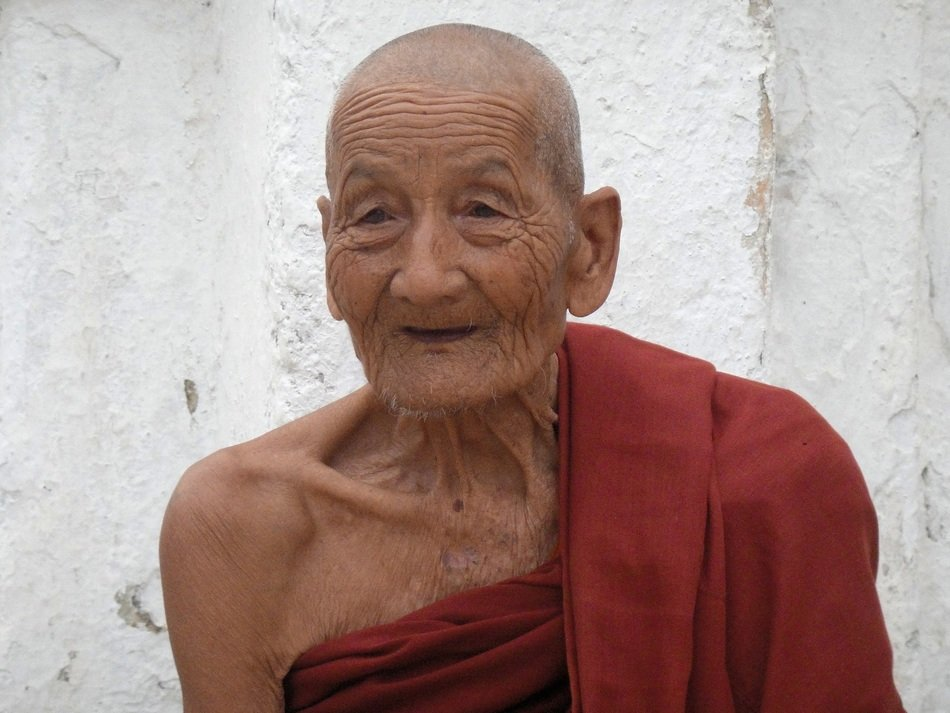 The face of a wise elderly monk