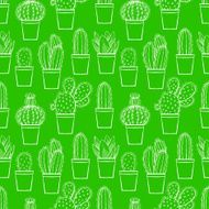 seamless green little cactuses