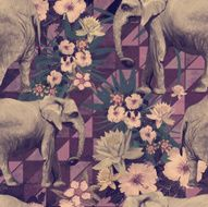 Samless pattern in vintage style with indian elephants Hand drawn