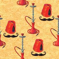 Turkish seamless pattern with fez mustache and hookah