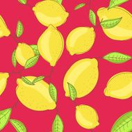 Green lemon fruits with leaf on branch red bright background