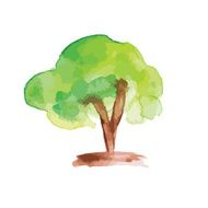 Art tree watercolor painting