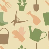 Seamless pattern of gardening tools
