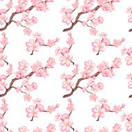 Watercolor seamless pattern with blossom sakura cherry tree N2