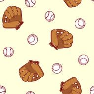 Baseball seamless pattern Glove and ball for a baseball