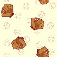 Baseball seamless pattern Glove and ball for a baseball N2