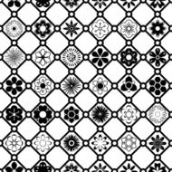 Black and White Vector Flower Pattern N3