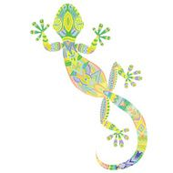 Vector drawing of a lizard gecko with ethnic patterns