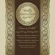 Baroque wedding invitation beige and brown N2