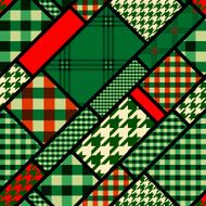 Patchwork pattern with green plaid patches