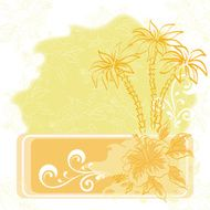 Exotic background palm and flowers