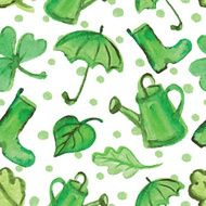 Watercolor Spring elements seamless pattern Green spot