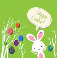 happy easter eggs and bunny greeting card