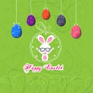 easter eggs and bunny funny greeting card