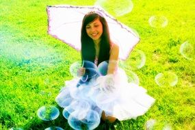 girl in a princess dress with bubbles