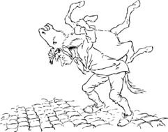 a drawing of a man who carrying his donkey on his back.