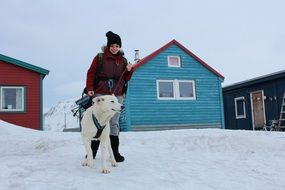 dog and girl norway svalbard