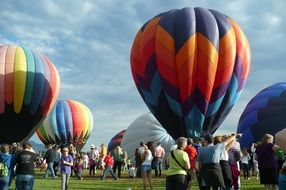 crowd of people at hot air balloons on festival, usa, colorado, colorado springs