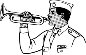 soldier playing bugle instrument