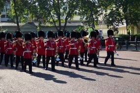 changing of the guard at Buckenham Palace in England