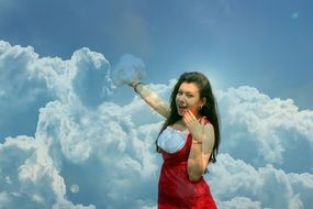 cheerful girl pointing to clouds, collage