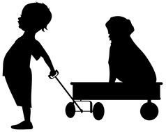 boy and dog on wheels black silhouette