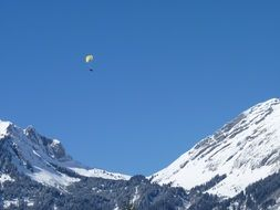Paragliding from snowy mountains