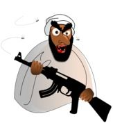 cartoon armed muslim man, terrorist