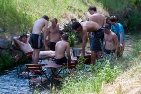 boys footballers cooling off