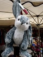 plush bunny on a leash