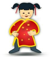 graphic image of a child in a Chinese costume