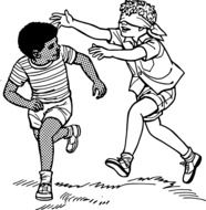 clipart,two boys play the game blindfolded