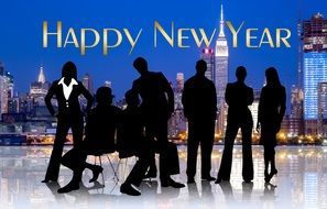 Happy New Year postcard with businessmen