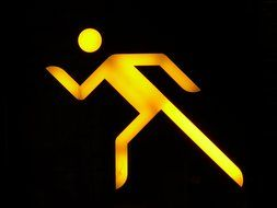 yellow neon sign Pedestrians