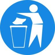 man recycling trash blue sign