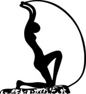 silhouette of a naked woman as a symbol of a woman in motion