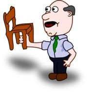 clipart of the man is holding a chair