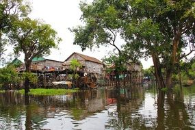 View from the water to a floating village in Cambodia