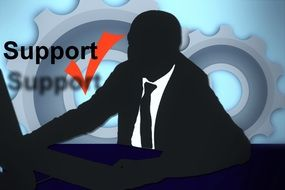 Silhouette of man from the support clipart