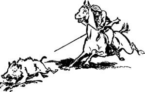 Black and white drawing of the hunting clipart