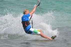 kitesurfer splashing water