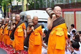 buddhists bald monks ceremony